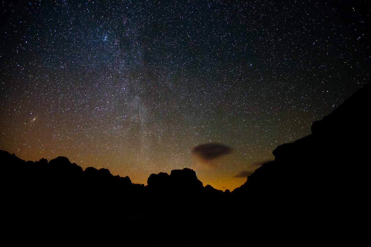 Long exposure of the night sky full of stars over the desert